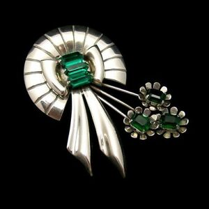 STERLING-Silver-Vintage-Large-Retro-Flower-Brooch-Pin-Green-Glass-Stones-Lovely