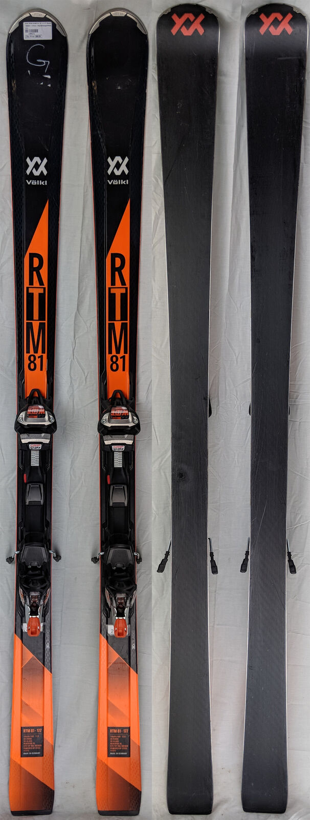 2017-18 Volkl RTM 81 USED Skis 156 cm with WRXL 12 Bindings - USED 81 - Gold 927b1b