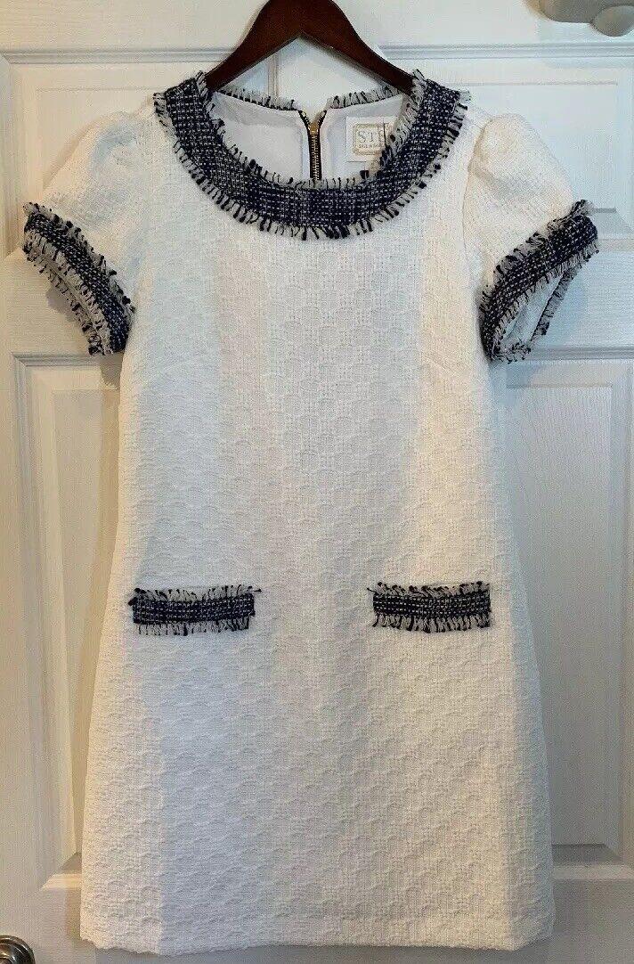Nuevo con etiquetas Vela  Para Sable blancoo Tweed Vestido Talla 8  calidad auténtica