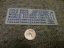 Herald King decals HO Cole Bros Circus World Toured deep blue     ZZ22