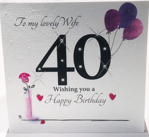 8.25 x 8.25 in Large 40th Carte d/'anniversaire pour une belle femme environ 20.95 cm
