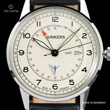 Junkers Men's 42mm G38 Ed. II Series German Made Swiss GMT Leather Strap Watch