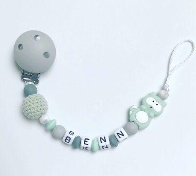 Schnullerkette Schnullerband Nuckelkette mit Namen hellgrau grau mint mintgrün