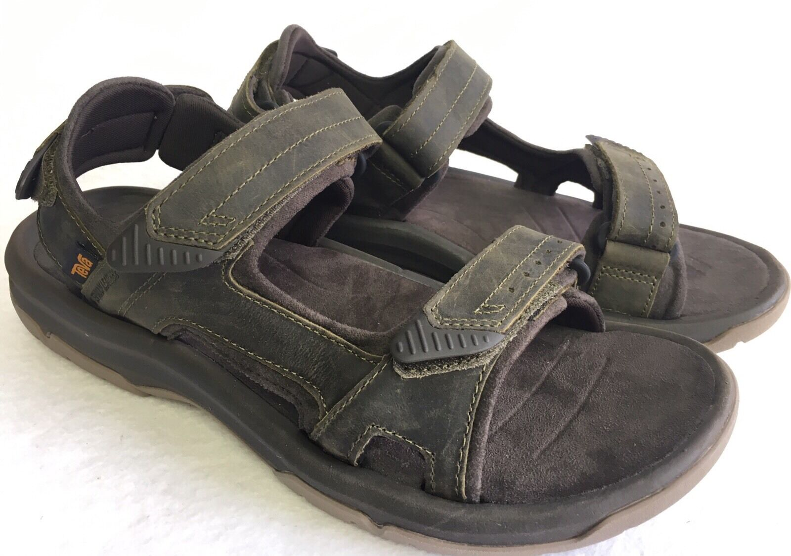 TEVA LANGDON OLIVE LEATHER UPPER ACTIVE CASUAL SANDALS Uomo`S SIZES 1015149 NEW