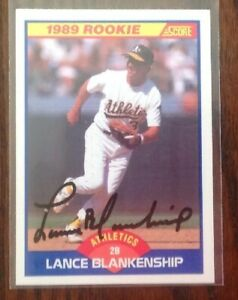 Lance Blankenship Hand Signed 1989 Score Baseball Card Oakland A's