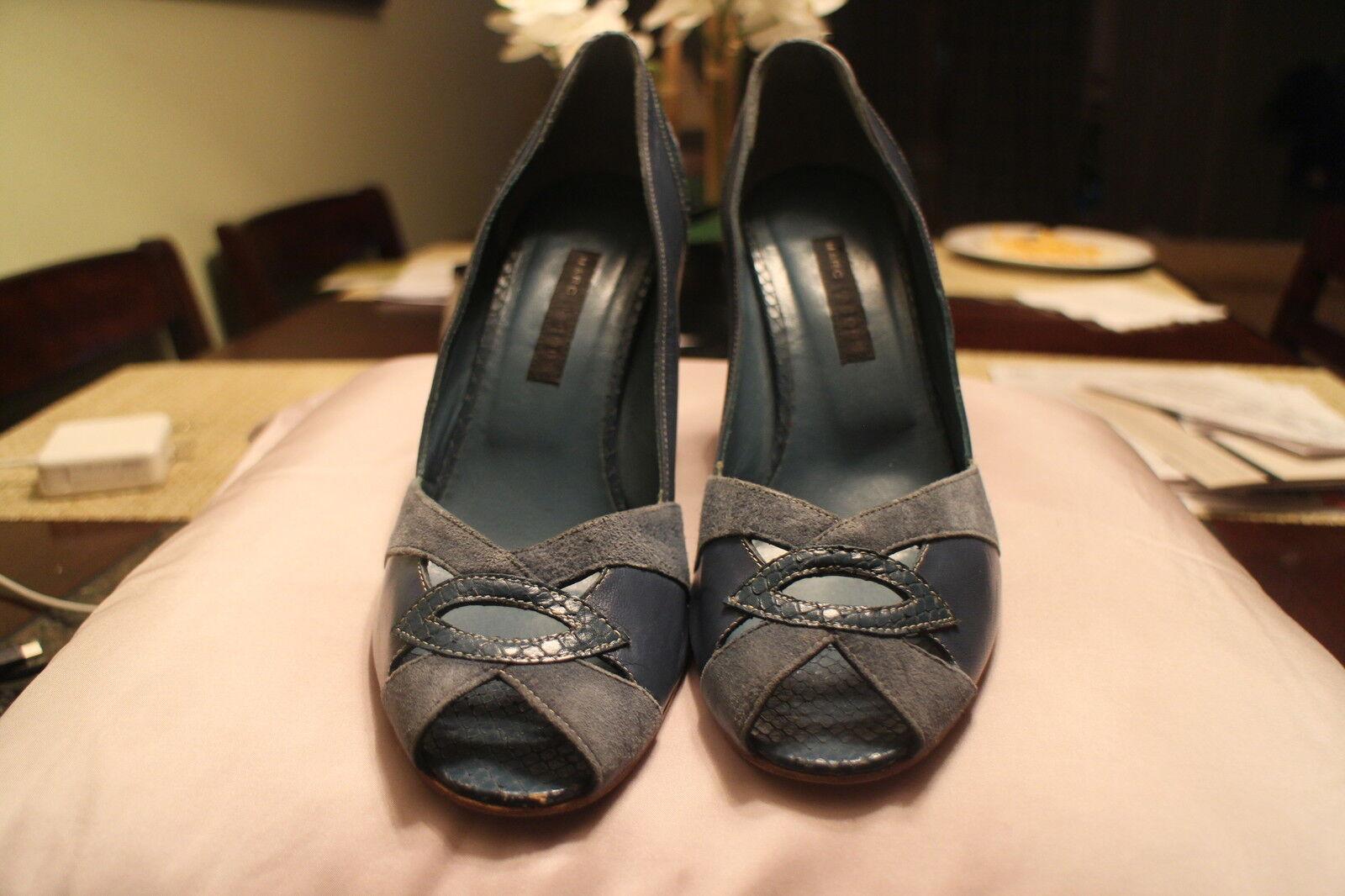 MARC JACOBS bluee Leather Suede Platform Heels Open Toe Size 7 1 2