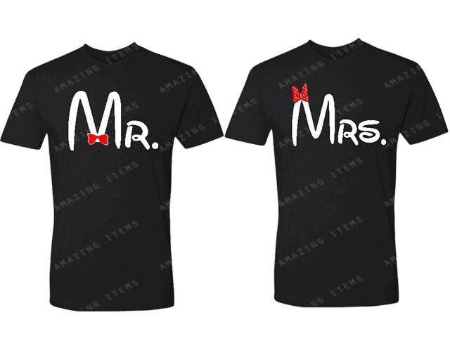 Cartoon Font Mr. - Mrs UNISEX Couple Matching T-shirts lovely couple clothing