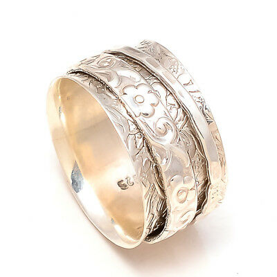 Solid 925 Sterling Silver Spinner Ring Meditation Ring Statement Ring Size SR718