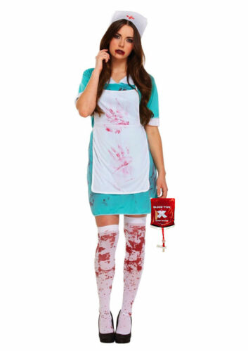 Adult ZOMBIE NURSE Costume Ladies Halloween Horror Scrub Womens Fancy Dress UK