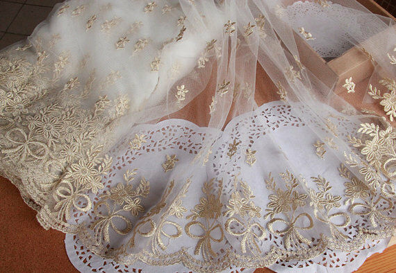 """2 Yards Lace Trim Gold Bowknot Embroidery Lace Fabric Wedding Trim 12.6"""" width"""