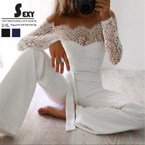Women-Playsuit-Party-Jumpsuit-Romper-Long-Trousers-Pants-Clubwear-Lace-Sleeve