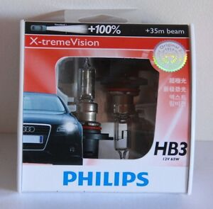 A-Pair-of-Genuine-Philips-9005-HB3-12V-65W-100-X-treme-Vision-Bulbs