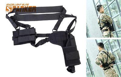 Tactical RH Chest Rig Shoulder Pistol Handgun Holster w/Double Magazine Pouch
