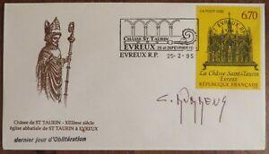 Claude-DURRENS-Chasse-Saint-Taurin-Evreux-1995-signature-autographe-cachet