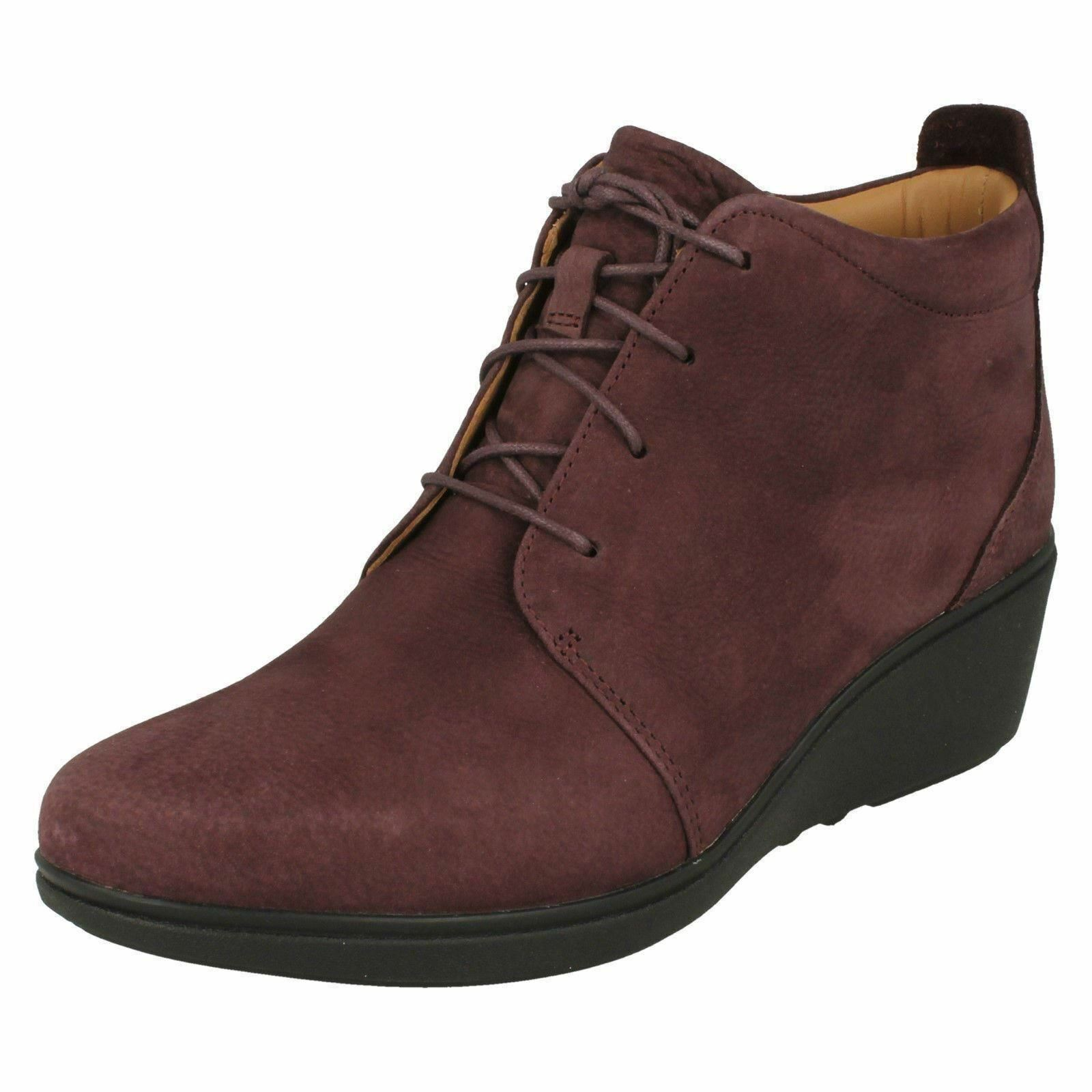 Ladies Clarks Low Wedged Heeled Lace Up Leather Leather Leather Ankle Boots Un sizera Eva 28a015