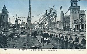 BROOKLYN-NY-Coney-Island-Shooting-the-Chutes-Glitter-Covered-Postcard-udb