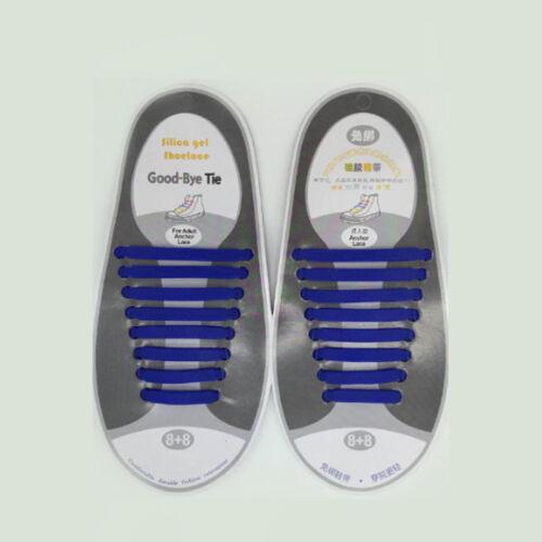 16 Pcs Novelty Unisex No Tie Shoelaces Silicone Elastic Sneaker Lazy Shoe Laces
