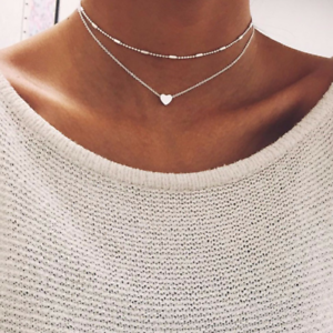 Women-Jewelry-GF-Pendant-925-Silver-Gold-Heart-Choker-Chunky-Chain-Bib-Necklace