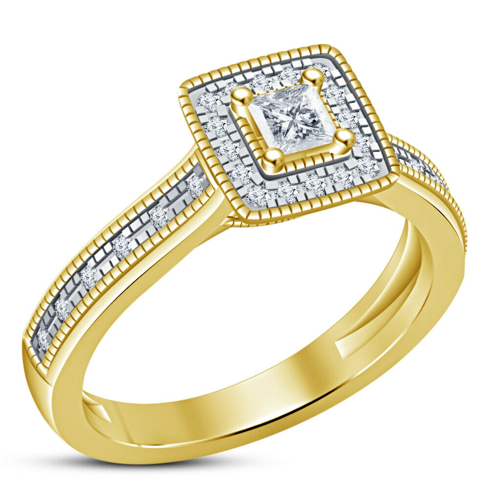 1 Ct Princess Cut Diamond Halo Engagement Ring in 14k Yellow gold Fn For Ladies