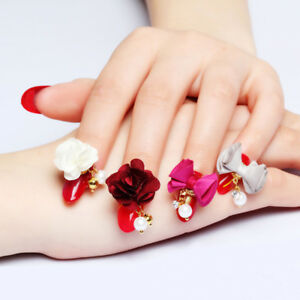 10pcs/lot nail art detachable magnet base cotton flower/bow pendant ...