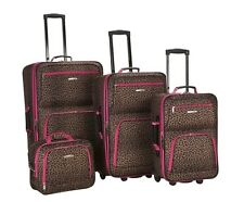 Rockland 4 PC PINK LEOPARD LUGGAGE SET F125-PINKLEOPARD Luggage Set NEW