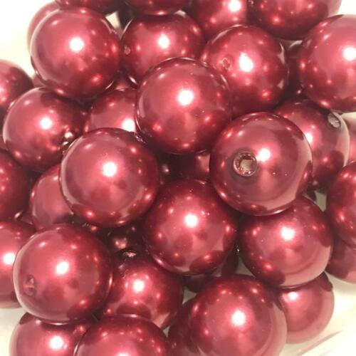 10 pieces 20mm burgundy pearl chunky bubblegum beads DIY baby necklaces