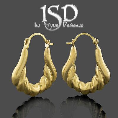 10k Yellow Gold Women's Small Fancy Puff Heart Design Earrings Light Weight