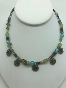 Ayala-Bar-Charm-Necklace-Vintage-1980-039-s-Green-Blue-Topaz-Beads-Israeli-Jewelry