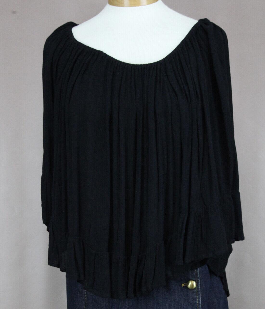 Ralph Lauren Jeans & Supply Donna Nero Increspatura Camicetta Ret Nuovo