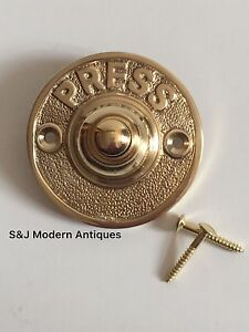 Exceptionnel Image Is Loading Round Door Bell Antique Mains Wire Vintage Push