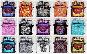 Indian Mandala Hippie Duvet Quilt Cover Bohemian Reversible Bedding Blanket Set
