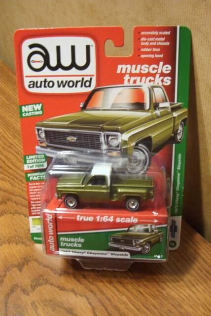 2019 AUTO WORLD 1:64 *PREMIUM* SET OF 4 = 1973 Chevy Cheyenne Pickup Truck *NIP*