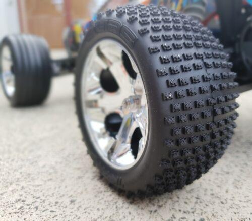 Traxxas rustler 2018 Front and Rear wheel set wheels tyres Stadium Truck OZRC