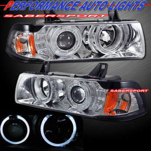 Pair Dual Halo Projector Headlights for 92-98 BMW E36 3-Series Sedan and 318Ti