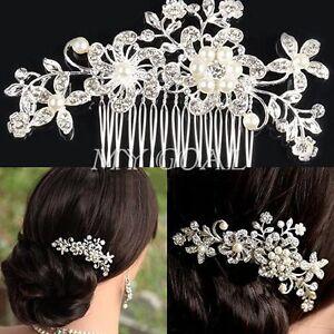Luxury-Bridal-Wedding-Flower-Crystal-Diamond-Pearls-Hair-Clip-Comb-Diamante-US