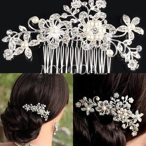 BG BEAUTIFUL BRIDAL WEDDING FLOWER CRYSTAL PEARLS WOMEN HAIR CLIP COMB DIAMANTE