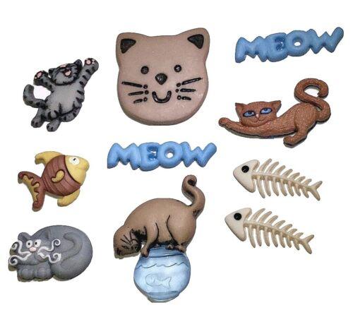 Jesse James Buttons Dress It Up ~ FELINE FANCY 371 ~Cats Sew Craft Quilt Scrap