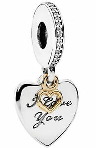 New-Genuine-Silver-PANDORA-Love-You-Forever-Gold-Heart-Charm-792042CZ-RRP-50