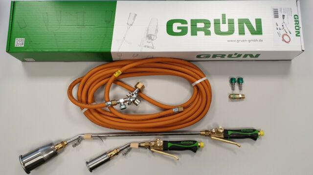 Grün Starkbrenner-Set 65 u. 35 mm Edelstahl Aufschweißbrenner Brenner 10 Mtr.