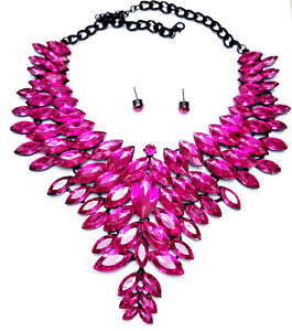 Statement-Choker-Necklace-Earring-Set-Hot-Pink