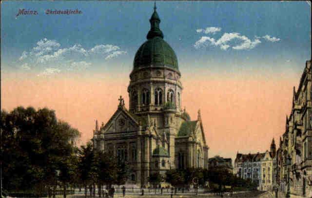 Feldpostkarte Mainz Christus-Kirche 1916 nach Polenz Neustadt Sachsen gelaufen