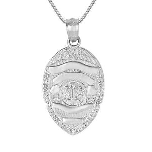 Sterling silver police badge pendant charm made in usa 18 image is loading sterling silver police badge pendant charm made in mozeypictures Choice Image
