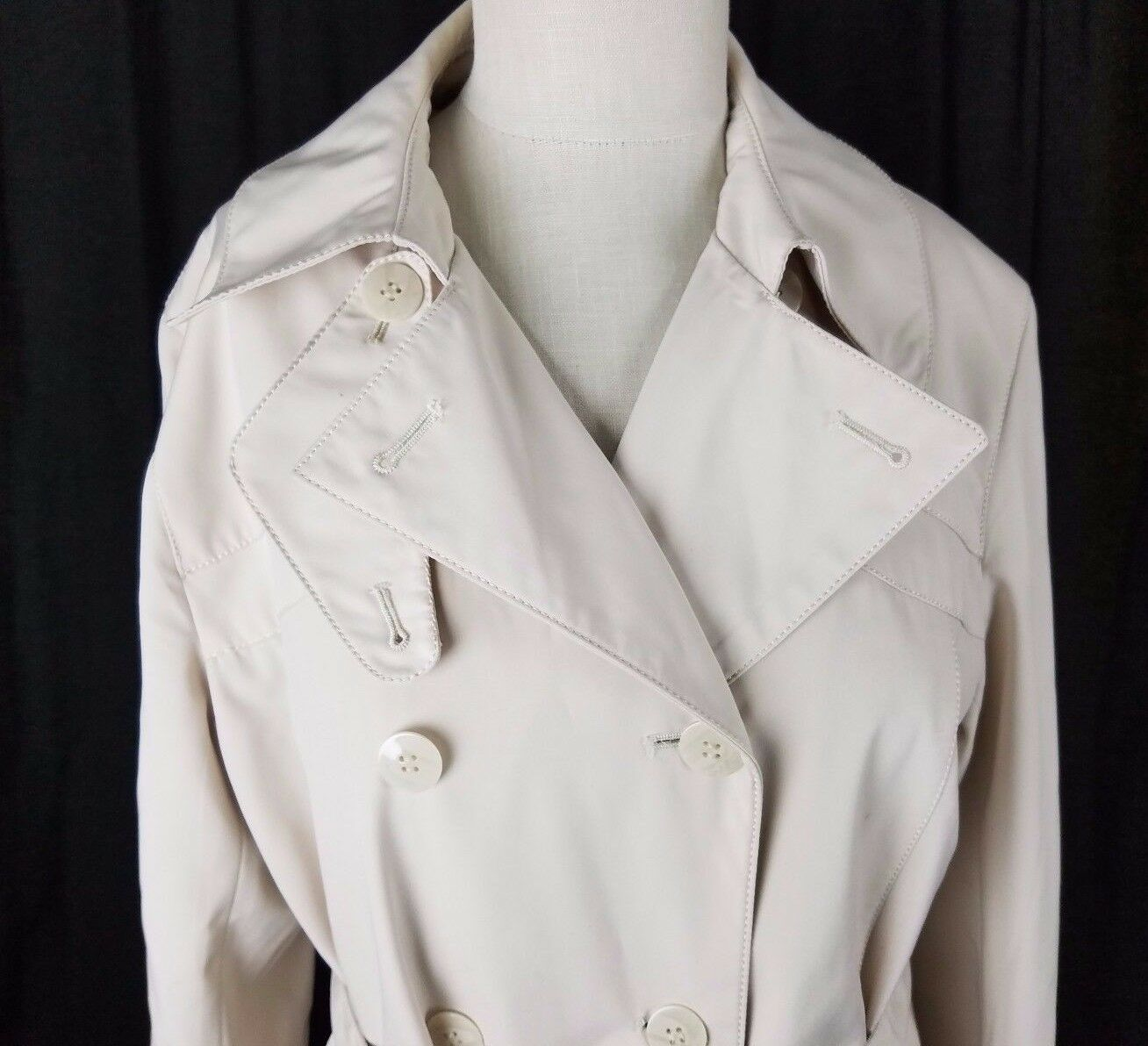 Fitz-Wright Petite Double Breasted Belted Tie All Weather Weather Weather Trench Coat Womens PM e36c2e