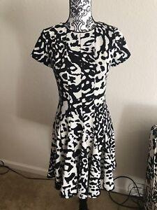7527d816cca Eliza J Dress Ponte Fit Flare Black White Animal Print Keyhole ...