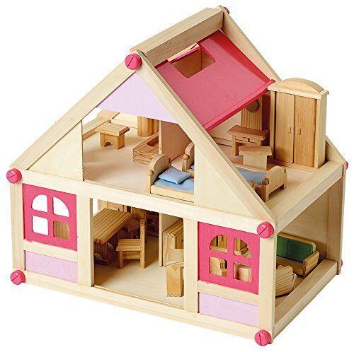 Beluga 70131 Puppenhaus mit Möbel Holz 27 Teile Villa Bambini