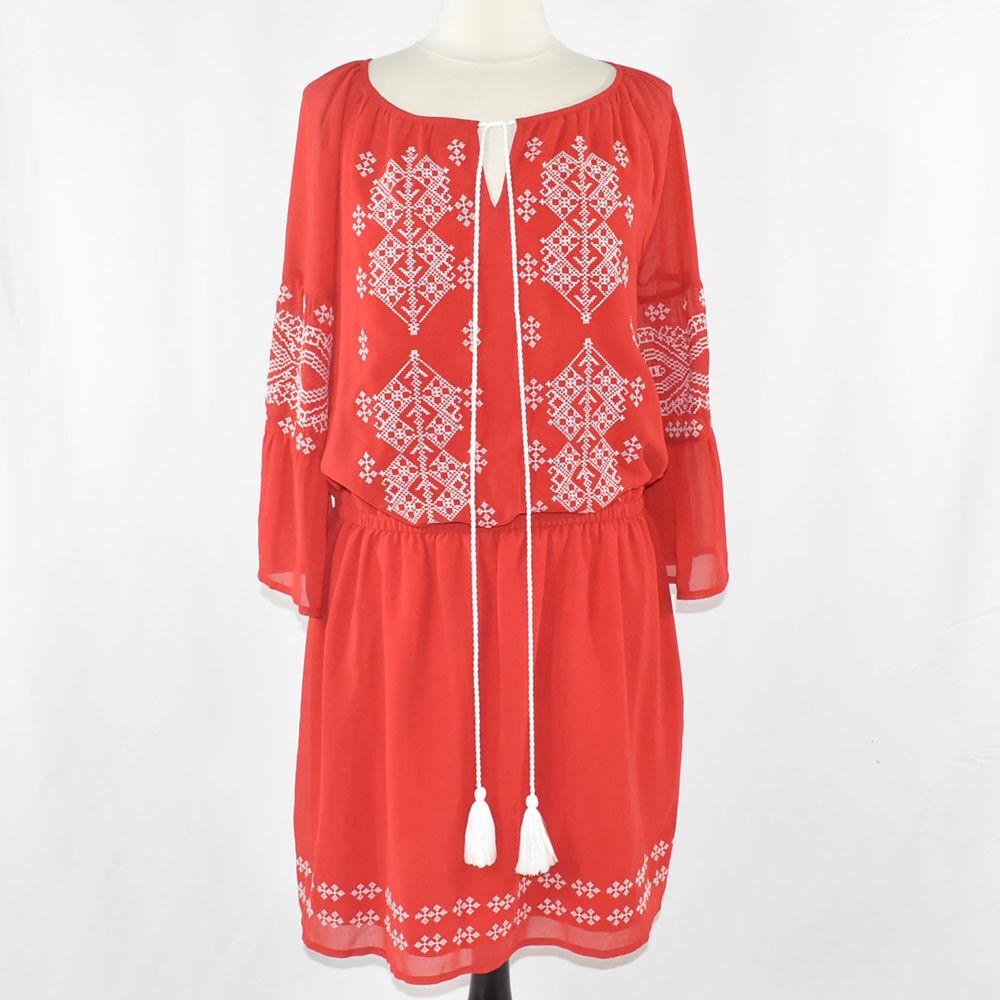 New York & Co. BoHo Peasant Dress MEDIUM rot NWT damen's