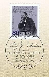 Objectif Rfa 1985: Fritz Reuter Nº 1263 Avec Propre Bonner Ersttags-cachet Spécial! 156-rstempel! 156fr-fr Afficher Le Titre D'origine