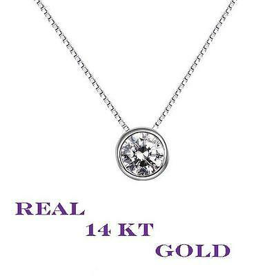 1 Carat Round  Solitaire Necklace Set Solid 14kt White gold  Pendant and Chain