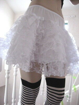 New White Red satin Lace mini Skirt Dita Showgirl Lolita Party Gift All sizes