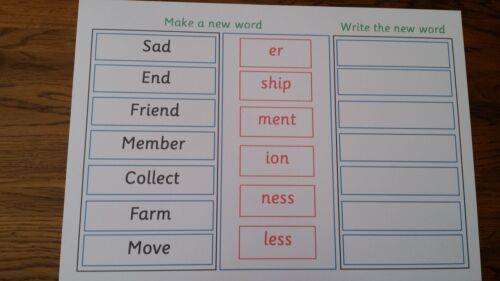 Effectuer un nouveau mot utilisant commune suffixes-A4 feuilleté Poster-PHASE 6-année 2